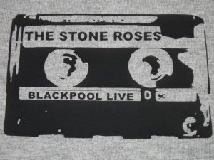MENS RETRO `THE STONE ROSES, BLACKPOOL LIVE` BOOTLEG CASSETTE T-SHIRT